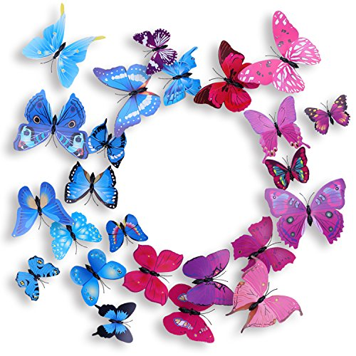 Soamazing 24 PCS 3D Butterfly Wall Stickers Butterfly Magnets with Dot Glue for Home & Room Decoration(Blue & Purple)
