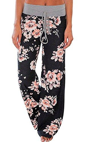 AMiERY Women's Comfy Pajamas Pants Casual Stretchy Pants Drawstring Wide Leg Palazzo Lounge Pants for All Seasons