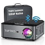 Proyector WiFi Bluetooth, TOPTRO 7600 Lúmenes Proyector Full HD 1920x1080P Nativo Soporta 4K, Ajuste Digital de 4 Puntos y Función de Zoom, Proyector Portátil LED Cine en Casa para PPT Phone PS5