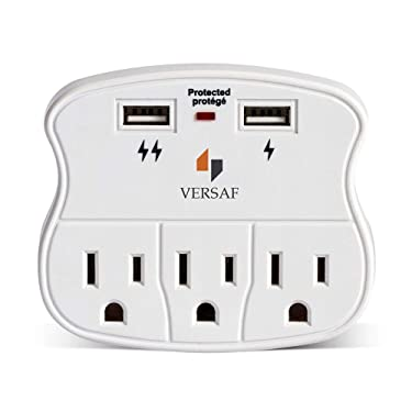 VERSAF Wall Outlet Adapter Surge Protector -2 USB Wall Charger Ports, 3 Plug Outlet Expanders,Slide Out Device Cradle,Protection Indicator Light,Compatible with Rechargeable Electronics,ETL Certified