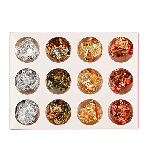 zhibeisai 12 Pot/Set Gold Silver Nail Glitter Foils Adhesive Gel Sticker Decal Nail products
