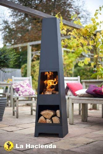 (free cover) La hacienda Malmo Steel 150cm Chiminea Chimenea Patio Heater with Wood Store