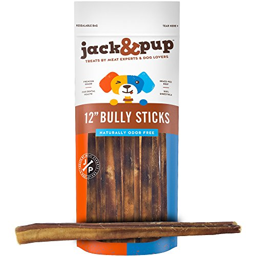 "Jack&Pup 12-inch Premium Grade Odor Free Bully Sticks Dog Treats [Extra-Thick] – 12"" Long All Natural Gourmet Dog Treat Chews – Fresh and Savory Beef Flavor – 30% Longer Lasting (5 Pack)"