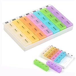 Cisixin Boîte à Pilules en Plastique Pilulier Semainier 7 Jours 28 Compartiments Détachables Multicolore Matin/Midi/Soir…