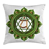 JIMSTRES Chakra Throw Pillow Cushion Cover, Circular Oriental Style Earth Core Form Ancient Balance and Harmony in Cosmos Theme, Decorative Square Accent Pillow Case, Green Gold 18x18 inches