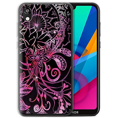eSwish Gel TPU Hülle/Hülle für Huawei Honor 8S/Y5 2019 / Schwarz/Rosa Muster/Henna Paisley Blume Kollektion