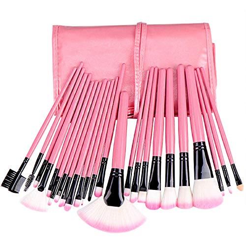 JFFFFWI Ensemble de pinceaux de Maquillage Professionnel 24 pièces avec boîte de Rangement pour maquilleur et Novice Kabuki - Pinceau Doux pour Les lèvres des Sourcils (Couleur: Rose)