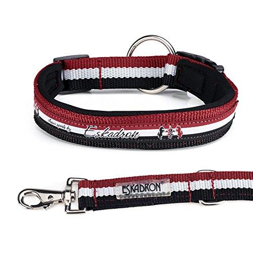 Eskadron Hundehalsband und Leine DarkRed-White-Black (431818767), Größe:XL