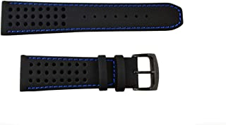 59-S52630 Original Replacement Black Leather Watch Band Strap w/ Blue Stitching fits CA0467-03E S084059