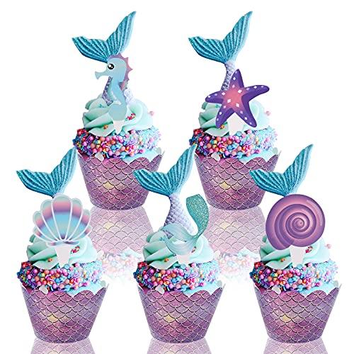 Yisscen Cupcake Topper Sirena Envoltorios Tartas 20 Piezas Sirena Decoracion Tarta 20 Piezas Cupcake Wrappers, para Cumpleaños de Niños, Decoración de Fiesta, Fondos de Fotos y Accesorios
