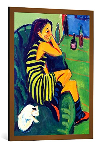 Kunst für Alle Cuadro con Marco: Ernst-Ludwig Kirchner Die Artistin - Marcella - Impresión artística Decorativa con Marco, 65x90 cm, Cobre Cepillado