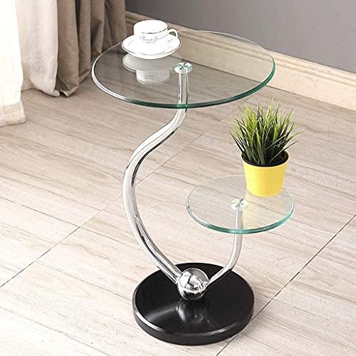 Muebles de oficina para el hogar Tabla de sofá cama de extremo superior de vidrio transparente de 2 niveles de 2 niveles con base de mármol, mesas de acento a prueba de agua, mesa de café pequeña (40x