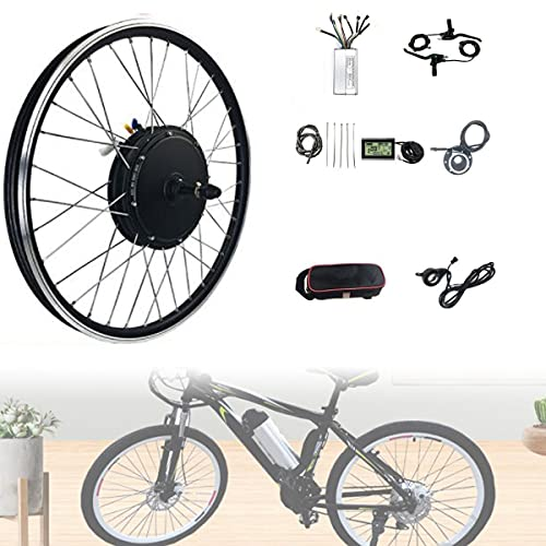 CHEIRS 48V 1000W 20', 24', 26', 27.5', 28', 29', 700C Kit de conversión Rueda Trasera Electric Bike Conversion Kit con Controlador de Modo Dual con Pantalla LED,SpinningFlywheel-24INCH
