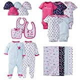 Gerber Baby Girls' 19 Piece Essentials Gift Infant-and-Toddler-Layette-Sets, Pink Princess, Newborn