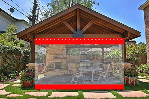 AWSAD Cortinas de Patio, Cortinas Exteriores, Refugio del Viento y La Lluvia, Cenador/Garaje/Exterior de La Puerta, 0,5 Mm, Personalización de Soporte (Color : Red, Size : 2.4x3.4m)