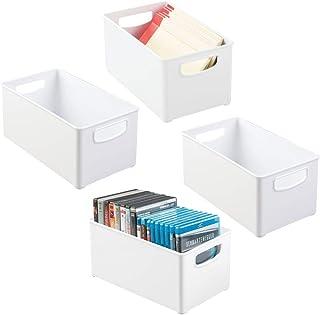 mDesign boîte de rangement avec poignées latérales intégrées (lot de 4) – boîte plastique pratique pour cuisine, salle de ...