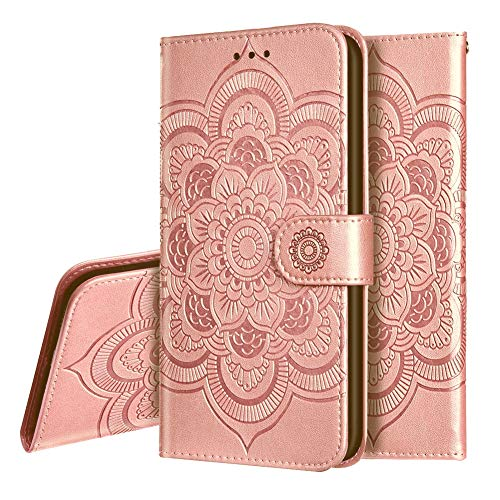 IMEIKONST Compatibel met Xiaomi Redmi Note 10 5G Case, Premium PU Lederen Reliëf Telefoon Case Bookstyle Flip Wallet Card Slot Houder Magnetische Stand Cover voor Redmi Note 10 5G. Mandala Rose Gold LD