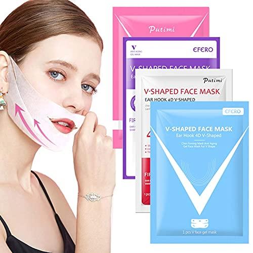 4D oorhaak V-vormige gezichtsmasker Chin Firming afslankgel Maskers Lifting gezichtsmasker Bandage dubbele kin V Shaper Face Mask