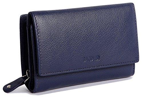 SADDLER Billetera Triple Pliegue de 14cm para Mujeres con Cremallera de 3 Vias y Monedero de 2 Secciones - Azul Marino