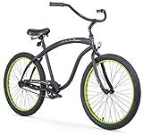 Firmstrong Bruiser Man Single Speed Beach Cruiser Bicycle, 26-Inch, Matte Black/Green Rims