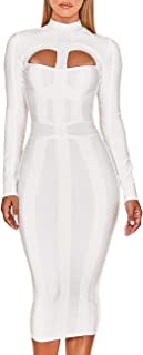 UONBOX Women's Sexy Cut Out Long Sleeves Midi Bodycon Party Bandage Dress
