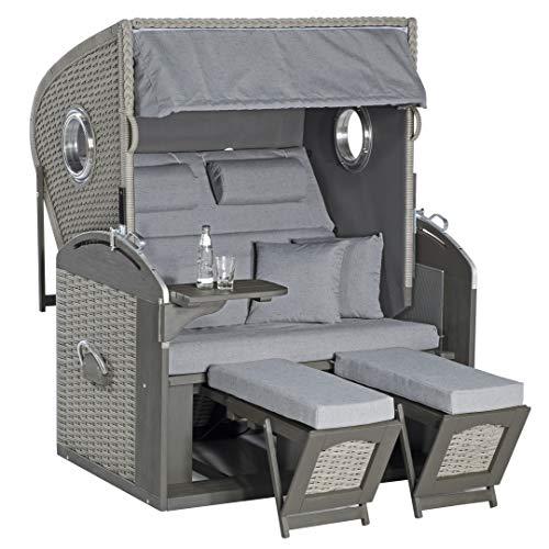 SunnySmart Sunny SMART Rustikal 305 Z Comfort XL Strandkorb, Stone-Grey, Geflecht/Pinienholz, 135x98x160 cm, inkl. Rückholfedern