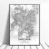HUUDNHYK Impresión en Lienzo no Tejido Mapa de latitud y Longitud de Santiago Chile en Blanco y Negro.Cuadro de decoración del hogar de Las mesas en Blanco y Negro 70x50cm (28x20in) sin Marco