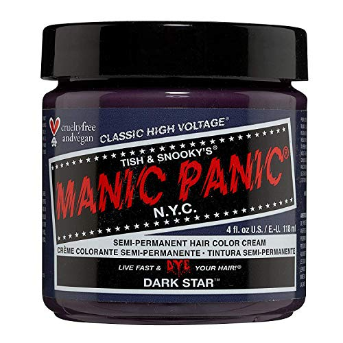 Manic Panic Dark Star Grey Hair Dye with Purple Tones Classic High Voltage - Semi-Permanent Hair Dye Color is Vegan