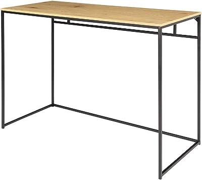 Selsey Seaford - Bureau Design - 100 cm - chêne/Noir - Pieds en métal - Style Industriel