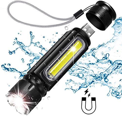 Multifunctionele huishoudelijke 1000LM multifunctionele LED-zaklamp, USB-oplaadbare batterij Krachtige T6-zaklamp Side COB-lamp Linterna Tail Magnet Work Light