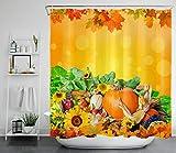 Herbsternte Kürbis Obst Mais Sonnenblume HD-Druck, wasserdichter Duschvorhang für das Badezimmer, 12 Haken kostenlos, 180x180cm