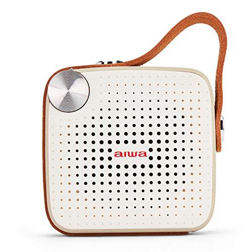 Aiwa Square BS-100GY Tragbarer Lautsprecher mit Bluetooth, microSD, FM, wasserdicht, Leder-Finish
