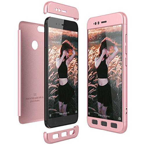 CE-Link Funda Xiaomi Mi 5X / Xiaomi Mi A1 Carcasa Fundas para Xiaomi Mi 5X / Xiaomi Mi A1 360 3 en 1 Desmontable Ultra-Delgado Anti-Arañazos Case Protectora - Oro Rosa