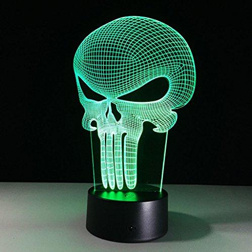 3D-Illusion-Nachtlichter, Punisher-Maske Moderne LED-Tisch Schreibtischlampen 7 Farben ändern Touch-Schalter USB-Lade Beleuchtung Schlafzimmer Home Decorative Lamp
