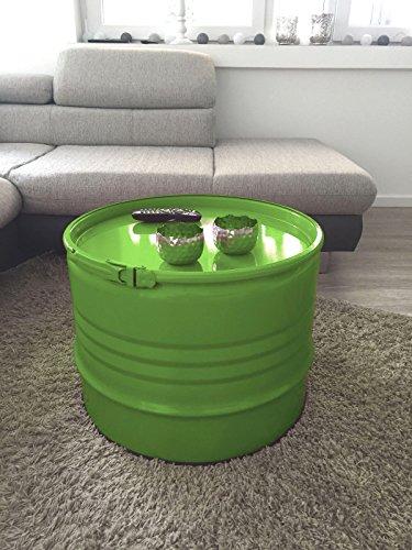 Fassmöbel Beistelltisch Ölfass Tisch Fass Design Möbel Couchtisch mit Spannring Grün# Ø 57cm