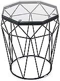 NSYNSY Mesa de Centro de Vidrio - Tapa Transparente/Base geométrica Negra