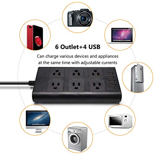 9.8ft Surge Protector Power Strip - SUPERDANNY Flat Plug 15A 14AWG Extension Cord 6 Outlet with 4 USB Ports, Adjustable Voltage 110-240V for iPhone iPad Home Office Indoor Office Desktop Black