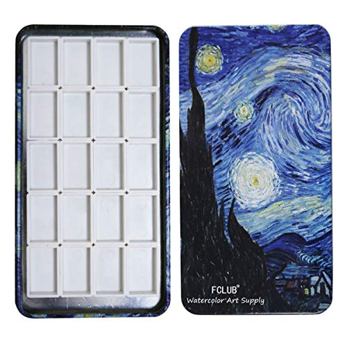 FCLUB Watercolor Tins Palette Paint Case with 20Pcs Full Pans Carrying Magnetic Stripe on The Bottom - Starry Night by Vincent Van Gosh