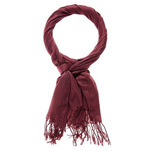 Happy Edition Klassiek elegante sjaal met franjes, hoogwaardig doosje (rood)