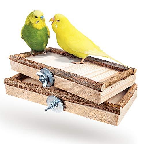 Vogelgaleria® 2er Set Sitzbretter 10x20cm mit Natur Holz Bordüre für Vögel wie Wellensittich Nymphensittich etc | Ideales Käfig Zubehör Vogelsitzbrett Sitzbrett inkl. Befestigungsmaterial