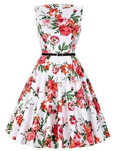 Damen Elegant Aermellos Sommerkleid Damen Knielang festliches Kleid Vintage Kleid Größe 2XL CL6086-39