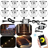 Outdoor Deck Light Kit, 10pcs Φ1.18' Bluetooth Warm White LED Decking Lights Waterproof Recessed Light for Garden Pathway Patio Step Stairs Landscape Decor
