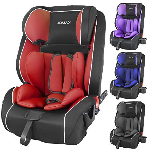 XOMAX HQ668 Kindersitz 9-36kg ISOFIX mit Flaschenhalter I mitwachsend: 1-12 Jahre, Gruppe 1/2/3 I 5-Punkt-Gurt und 3-Punkt-Gurt I Bezug abnehmbar und waschbar I ECE R44/04