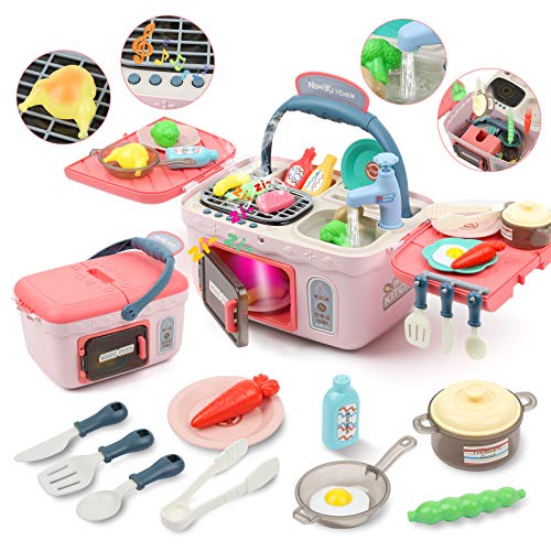 LIET Kids Kitchen Sets MultiFunctional Picnic Basket Toy with Realistic Lights amp Sounds Toddler Cooking Accessories Color Changing Play Food Play Sink and Portable Oven Gifts for Girls Boys
