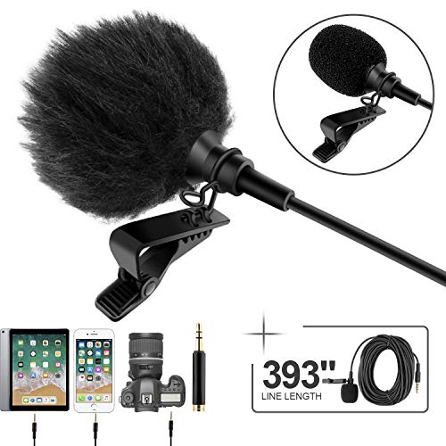 Professional Grade Lavalier Lapel Microphone ­ Omnidirectional Mic 393' with Easy Clip On System ­...