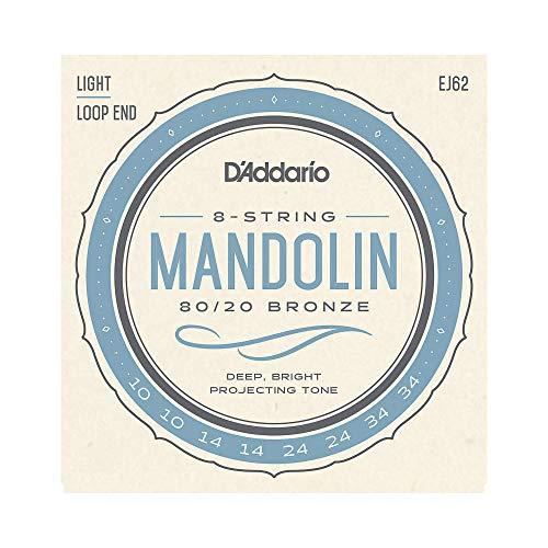 EJ62 D`Addario Saiten Satz für Mandoline (80/20 Bronze, Light, 10-34)
