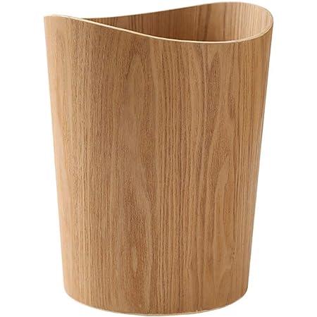 Liex-poubelle Ronde en Bois, Poubelle de Cuisine, Corbeille à Papier, ménage Simple Salon Chambre à Coucher, Design de Surface Courbe (Taille: 23 × 30cm)