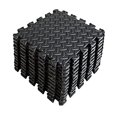 A2ZCARE Puzzle Exercise Mat with EVA Foam Interlocking Tiles (Protective Flooring) 3 YEAR Limited Warranty with 60 days FREE Return - Perfect for Home Gym, Aerobic, Yoga & Pilates (Black - 12pcs)