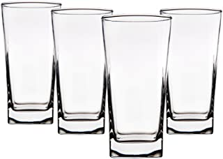 Home Essentials 1470-590 Red Series Square Highball Glass, Set of 4, Black