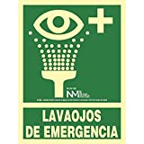 RD14109 - Señal Luminiscente Lavaojos De Emergencia Clase B PVC 0,7mm 22,4x30cm con CTE, RIPCI Nueva Legislación
